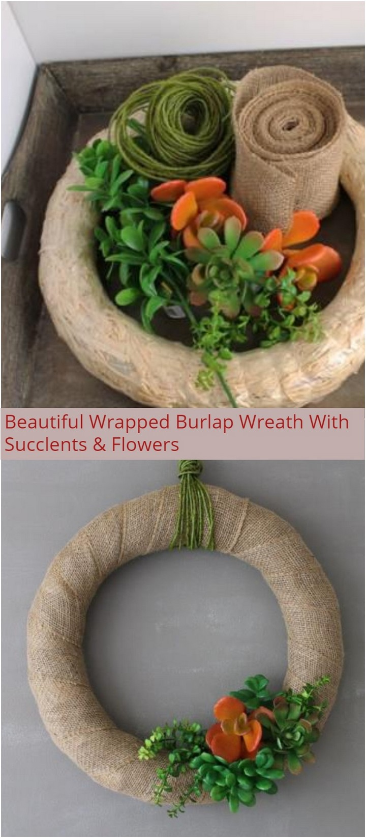 Beautiful Wrapped Burlap Wreath With Succlents Flowers 1