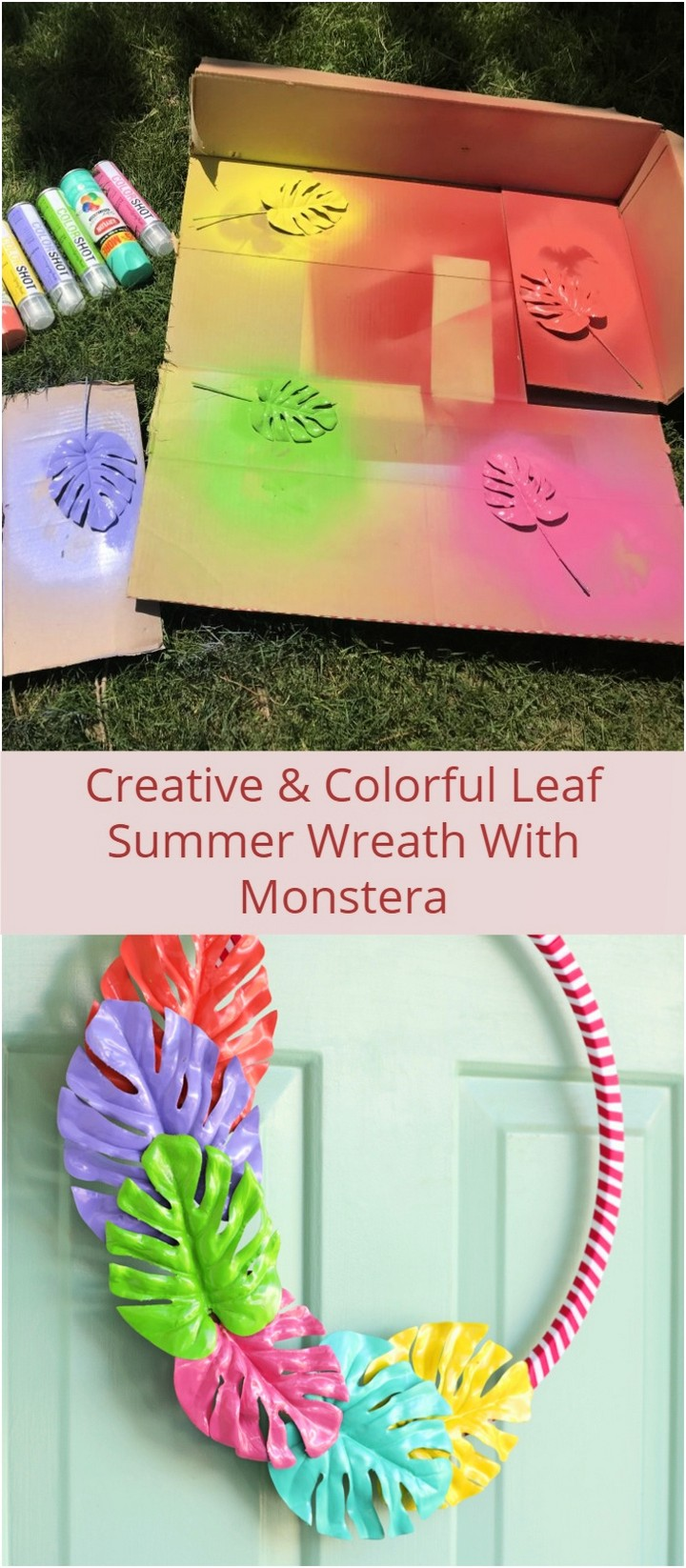 Creative Colorful Leaf Summer Wreath With Monstera