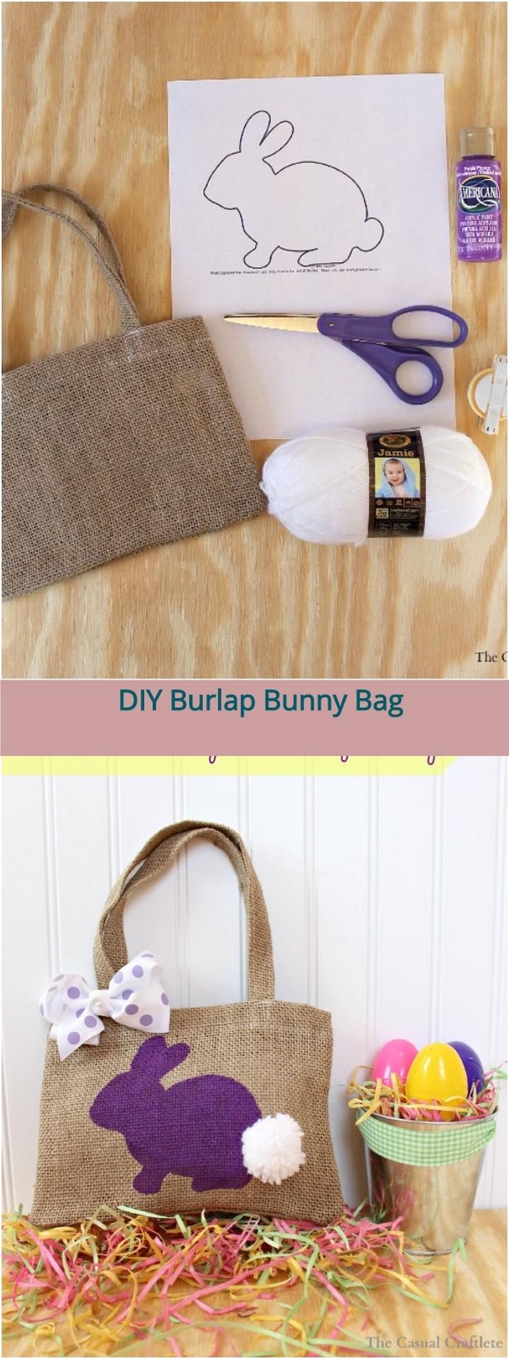 DIY Burlap Bunny Bag 1