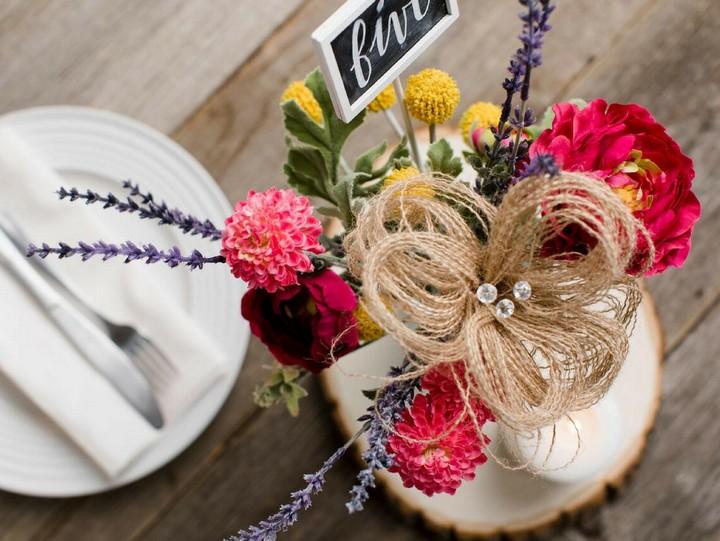 DIY Burlap Flower Centerpiece Idea