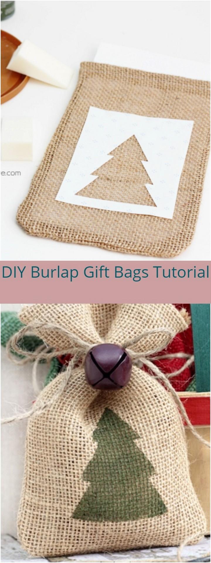 DIY Burlap Gift Bags Tutorial