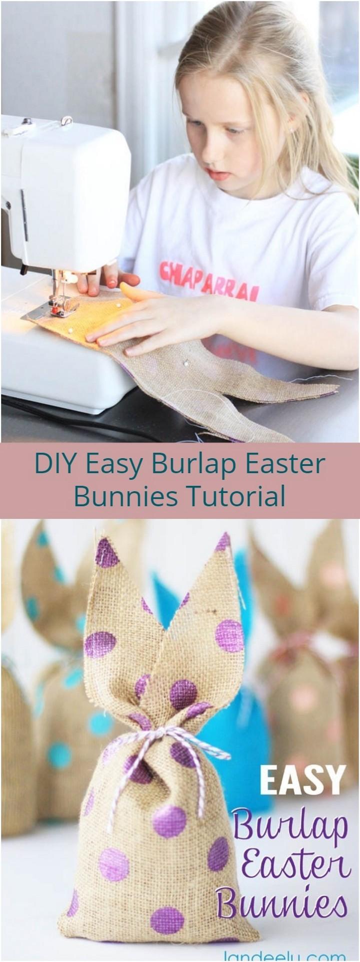 DIY Easy Burlap Easter Bunnies Tutorial 1