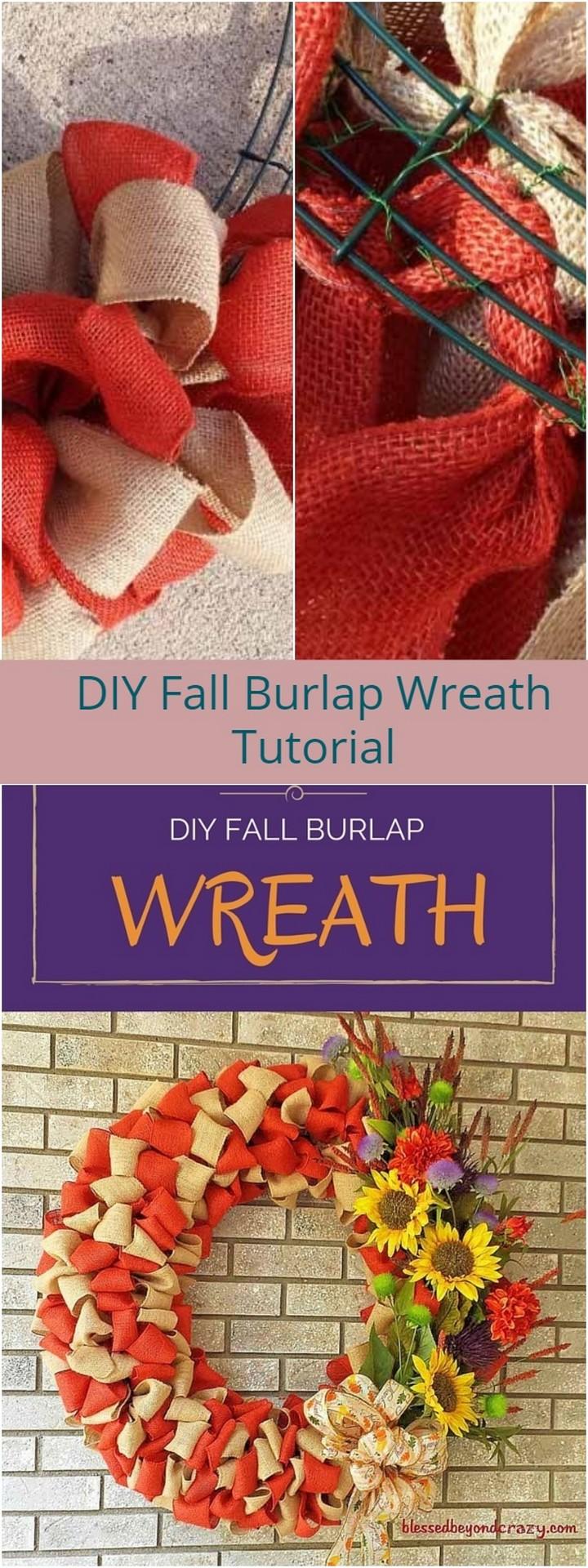 DIY Fall Burlap Wreath Tutorial 1