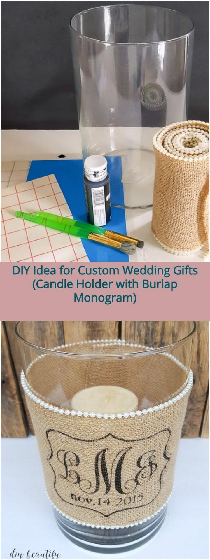 DIY Idea for Custom Wedding Gifts Candle Holder with Burlap Monogram 1