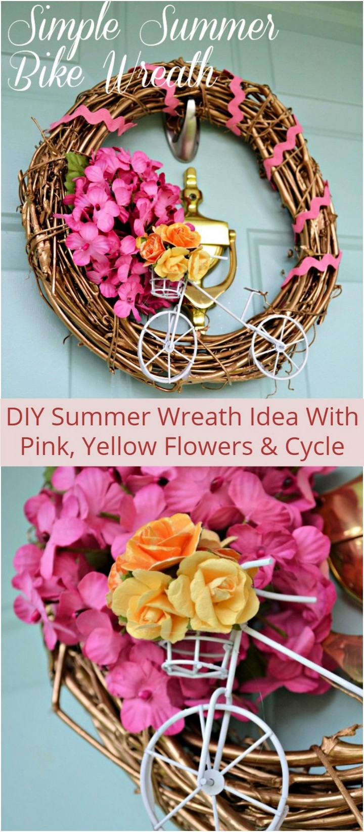DIY Summer Wreath Idea With Pink Yellow Flowers Cycle