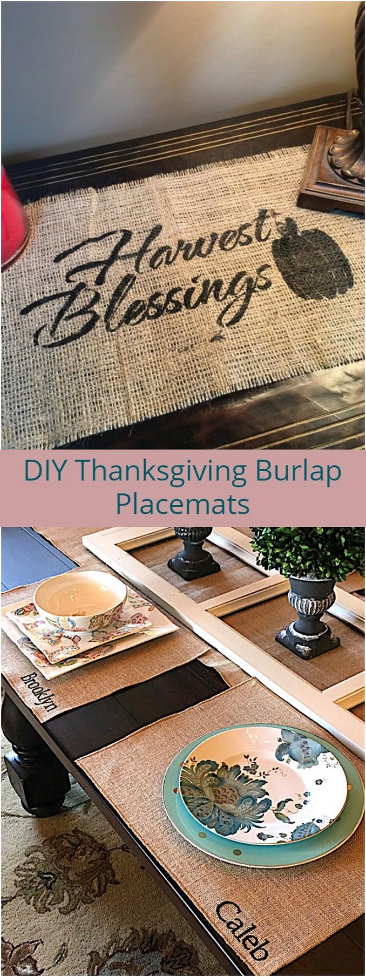 DIY Thanksgiving Burlap Placemats 1