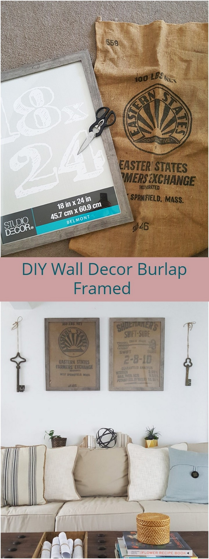 DIY Wall Decor Burlap Framed 1