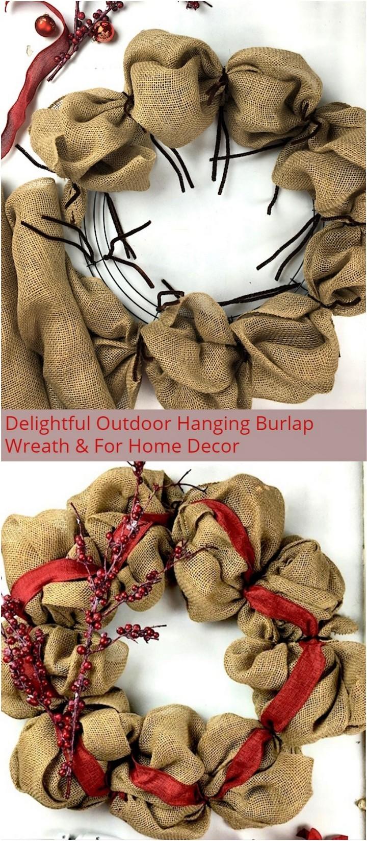 Delightful Outdoor Hanging Burlap Wreath For Home Decor