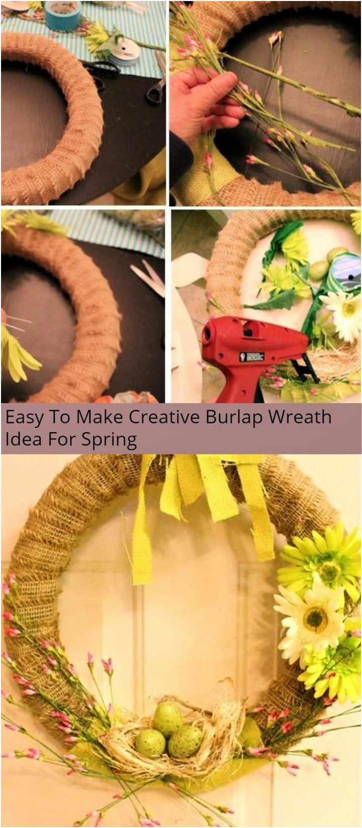 Easy To Make Creative Burlap Wreath Idea For Spring