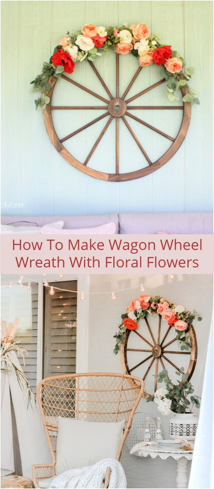 How To Make Wagon Wheel Wreath With Floral Flowers