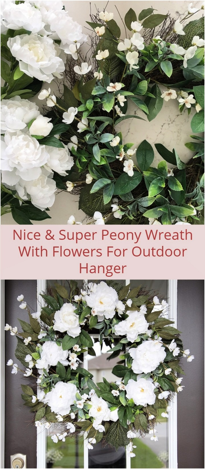 Nice Super Peony Wreath With Flowers For Outdoor Hanger