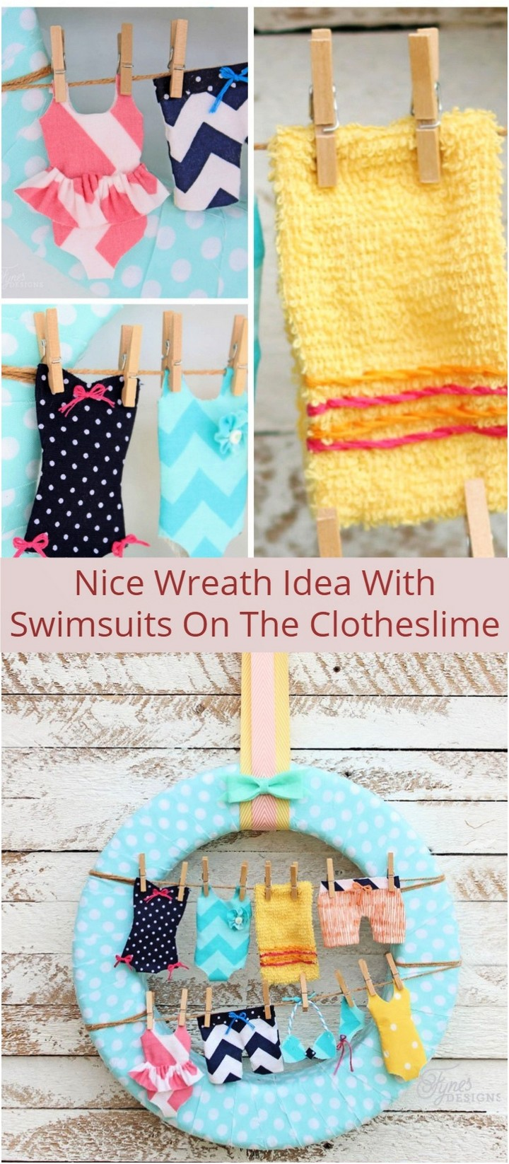 Nice Wreath Idea With Swimsuits On The Clotheslime