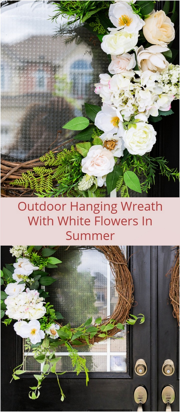 Outdoor Hanging Wreath With White Flowers In Summer