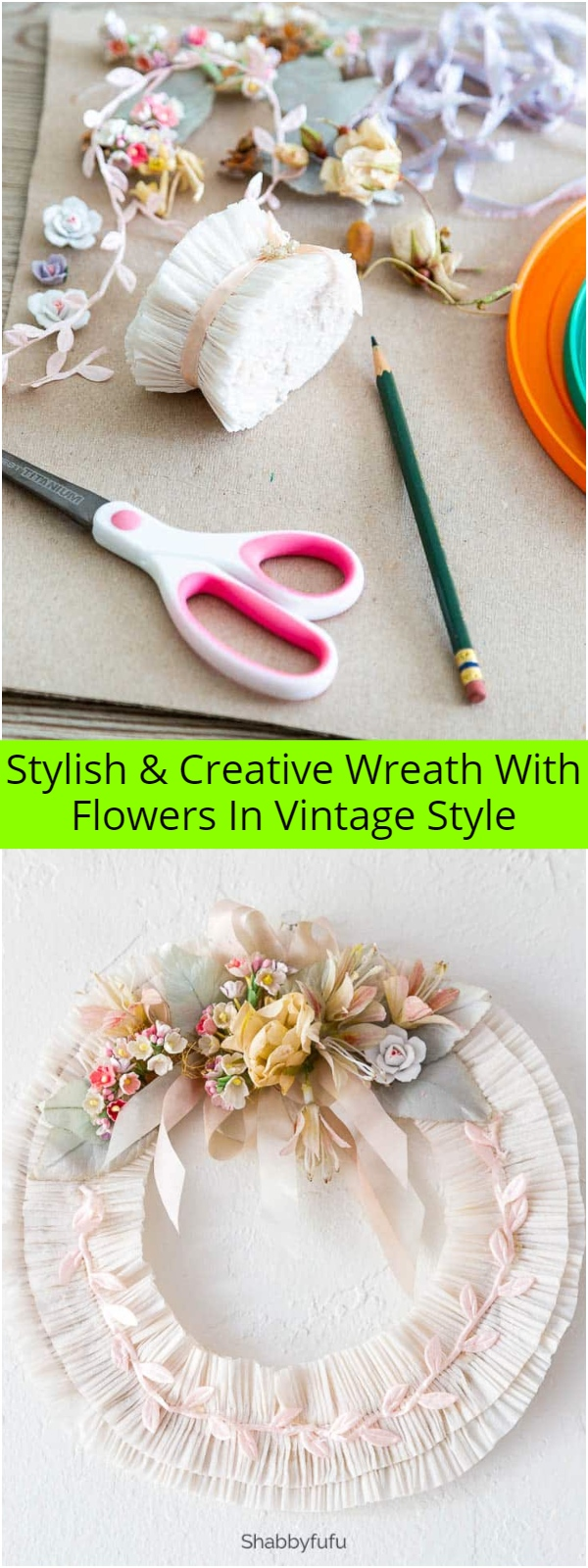 Stylish Creative Wreath With Flowers In Vintage Style