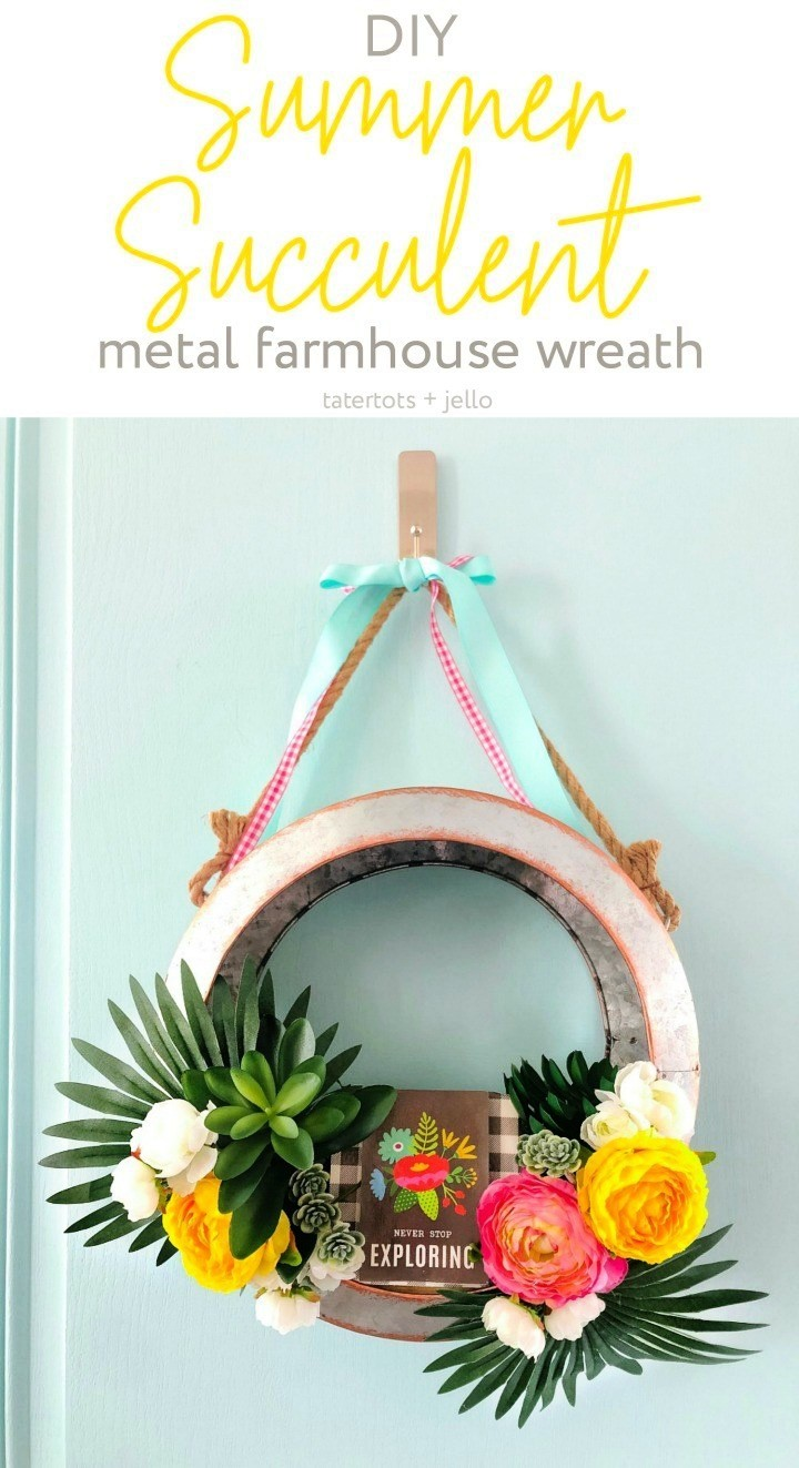 Summer Wreath With Succulents Metal