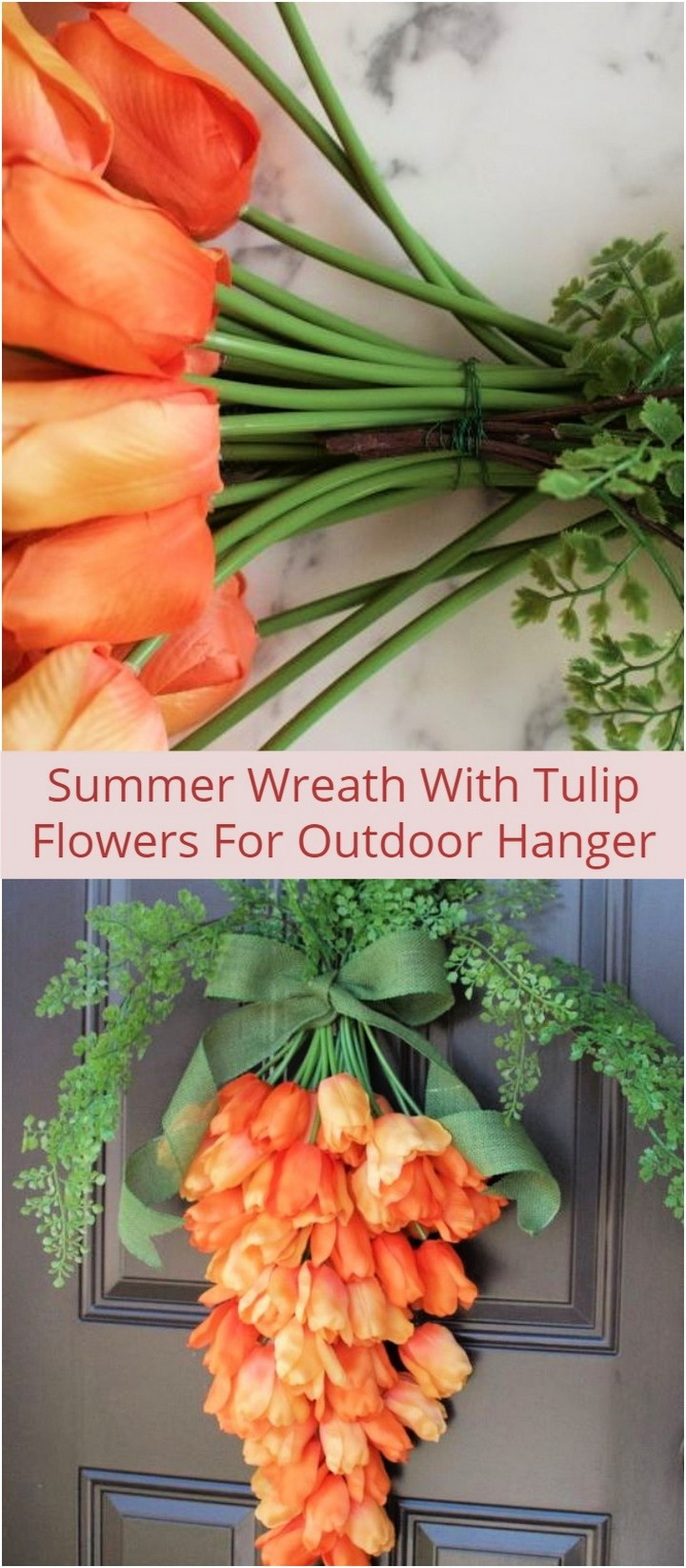 Summer Wreath With Tulip Flowers For Outdoor Hanger